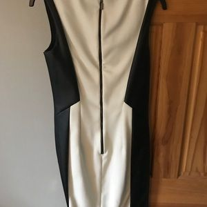 Black and white leather dress